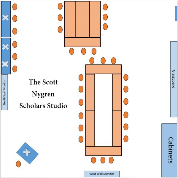 Layout of the Scott Nygren Scholars Studio.