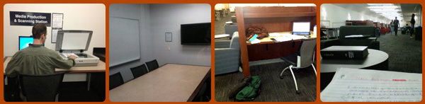 Scanners, study rooms, study carrels, and seating on the graduate floor of Library West.